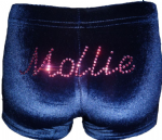Navy velour personalised shorts